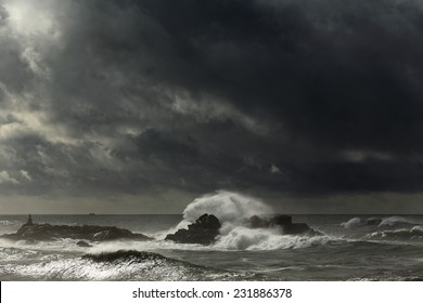 Dramatic cloudy autumn and winter seascape before storm