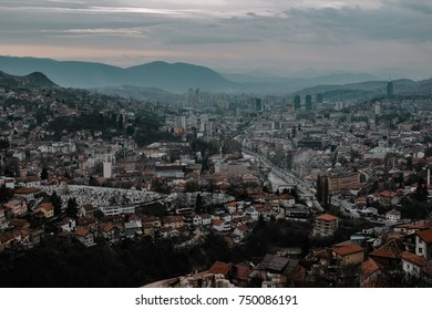 Dramatic cloudy city view of Sarajevo, Bosnia and Herzegovina. Cloudy rainy day in the capital city Sarajevo.