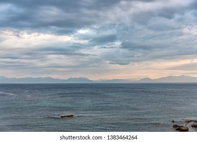 Dramatic Cloudy, Windy Morning on the Southern Mediterranean Sea in Italy
