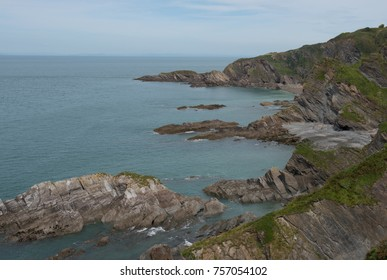 Dramatic Coastal Cliffs at Rillage Point on the South West Coast Path between Combe Martin and Ilfracombe with the Bristol Channel in the Background in Rural Devon, England, UK