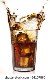 dramatic cola splash, there is some movement in the splashes