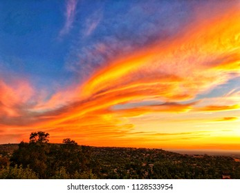 Dramatic Colorful Sunset Sky In El Dorado Hills  Overlooking Folsom Lake