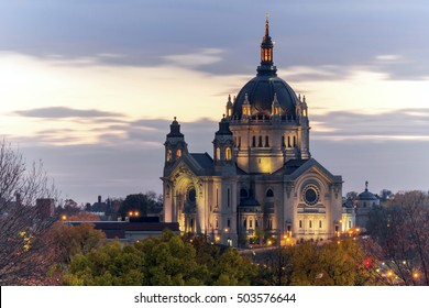 Dramatic Compressed Telephoto shot of the Cathedral of St Paul Long Exposure on a Fall Twilight
