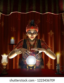 Dramatic concept of a mystic mystic, female Gypsy fortune teller with a lighted crystal ball in her tent, realistic 3d render