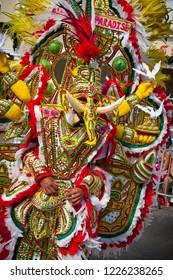 Dramatic costume of parade reveler depicting elephants-