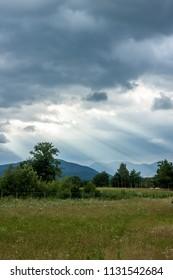 dramatic dark clouds landscape