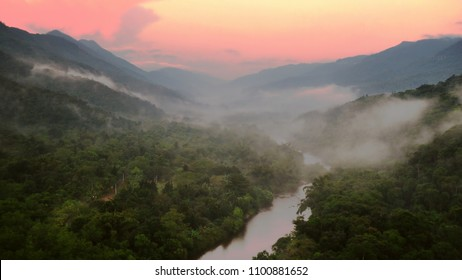Dramatic dawn at Atlantic rain forest in Serra do Mar, Sao Paulo, Brazil.