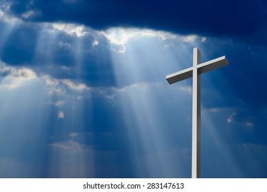 Dramatic deep blue Jesus light shining down