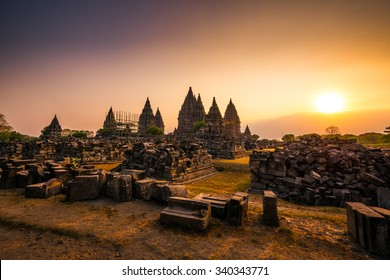 Dramatic and dynamic Sunset at Prambanan Temple of Yogyakarta