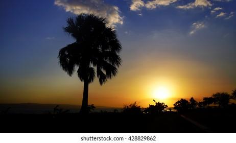Dramatic haitian sunset ocean view, Montrouis, Haiti