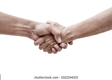 Dramatic help hands holding together representing friendship, partnership, help and hope, donation, assistance. Helping old, poor and hunger.