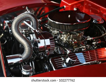 Dramatic image of high precision motor engine for car