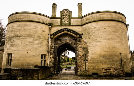 Dramatic image of Nottingham Castle, showing the beautiful architecture. Taken on a cloudy day in winter.