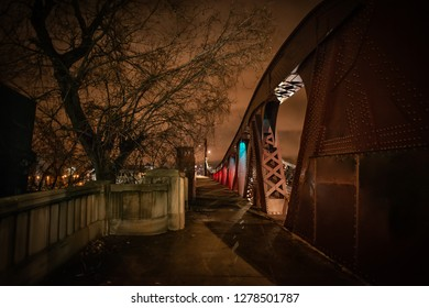 Dramatic industrial vintage river bridge scenery at night in Chicago