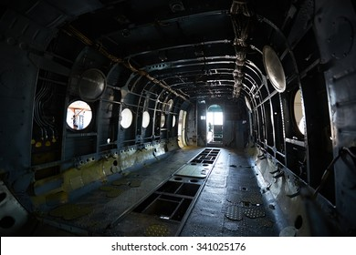 Dramatic interior shot of russian helicopter bay