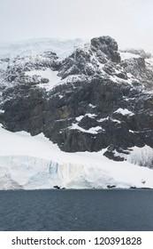 Dramatic landscape in Antarctica, huge mountain