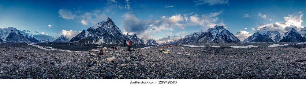 Dramatic landscape of Baltoro Glacier high up in Karakoram Mountain Range in Pakistan on early morning.