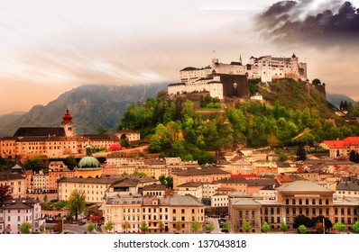 dramatic landscape before a sunset over Salzburg, Austria