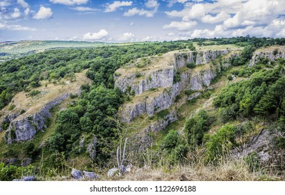 Dramatic landscape at Cheddar Gorge - a limestone gorge in the Mendip Hills, near the village of Cheddar located in Somerset, England.