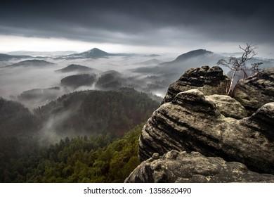 Dramatic landscape of Czech Switzerland National Park, Czech Republic, Europe