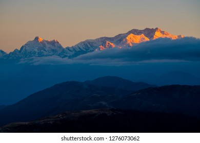 Dramatic landscape Kangchenjunga mountain with colorful from sunlight at Sandakphu, north of India
