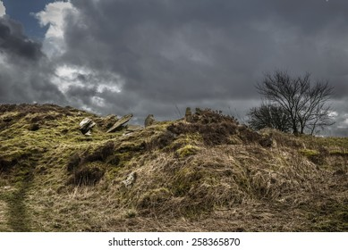 Dramatic landscape of the moors in Yorkshire, England with gloomy, stormy skies.