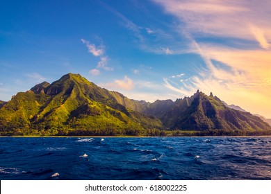 Dramatic landscape at Na Pali coast at sunset, Kauai, Hawaii, USA