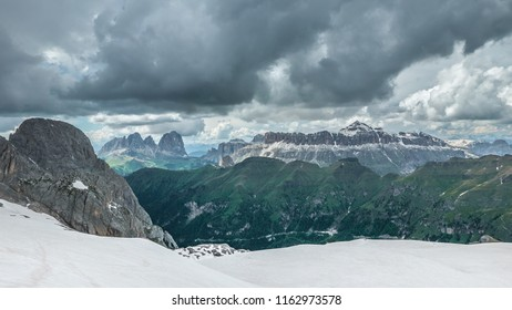 Dramatic landscape of Sella Gruppe, a group of mountains in Italian ski resort