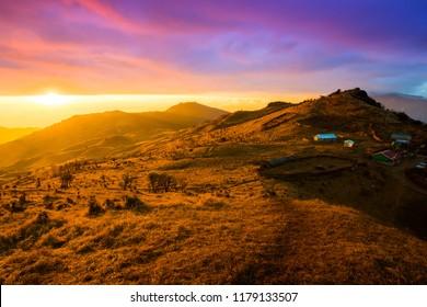Dramatic landscape of Tonglu trekkers hut middle to Sandakphu, north of India