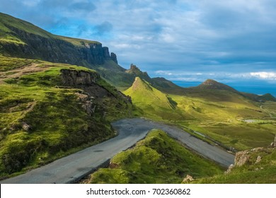 Dramatic landscapes of the Quiraing (A' Chuith-Raing), a landslip on the Isle of Skye in the Highlands of Scotland.