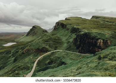 Dramatic landscapes of the Quiraing mountains, Isle of Skye Scotland