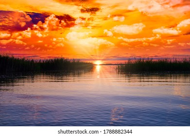 dramatic late sunset over the lake Chiemsee in Bavaria, Germany
