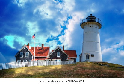 Dramatic light floods the Nobska lighthouse in Cape Cod