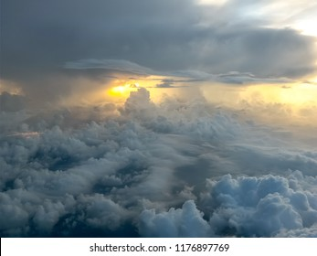 Dramatic of light shining through clouds for background