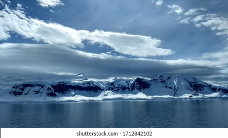 Dramatic lighting on King George Island, in Antarctica.