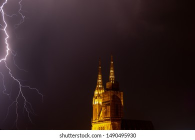 Dramatic lightning over Zagreb Cathedral