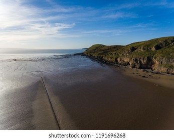 Dramatic Limestone Cliffs of Brean Down, part of the Mendip Hills, in the Late Afternoon Sun in Autumn on the Bristol Channel in Somerset, England, UK