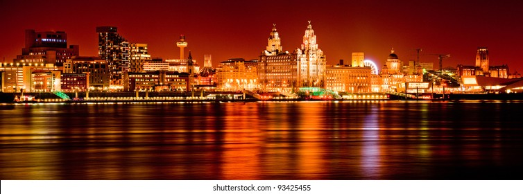 The Dramatic Liverpool Skyline at Night - reflected in the Mersey River