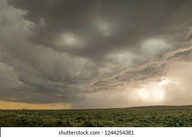 A dramatic looking severe thunderstorm rumbles close to Black Mesa Nature Preserve at the border of Oklahoma and New Mexico.