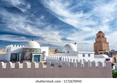 Dramatic looking sky with the Great Mosque in the background in Kairouan, Tunisia
