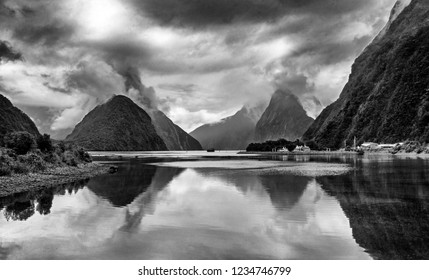 Dramatic Milford Sound in Black and White