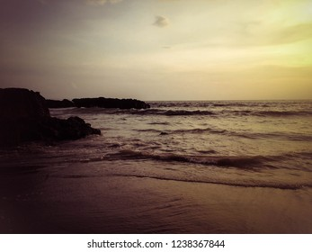Dramatic Moment By The Beach In Sunset Light At Batu Bolong Beach, Canggu Village, Badung, Bali, Indonesia