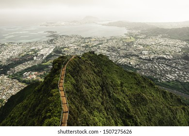 Dramatic moody view of Kaneohe and Ho'omaluhia Botanical Gardenin Oahu, Hawaii.Taken on the Stairway to Heaven (Haiku Stairs) hike.