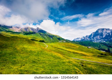 Dramatic morning scene of green mountain hills, Grindelwald village location. Spectacular summer view of  Bernese Alps, Jungfrau Region, Switzerland, Europe. Beauty of nature concept background.