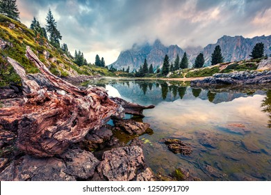 Dramatic morning view of Limides lake. Splendid summer scene of Dolomiti Alps, Cortina d'Ampezzo, Falzarego pass, Italy, Europe. Beauty of nature concept background.