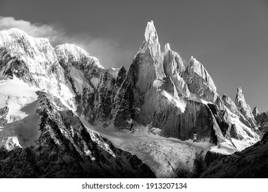 Dramatic mountain with a narrow summit named Cerro Torre in south america