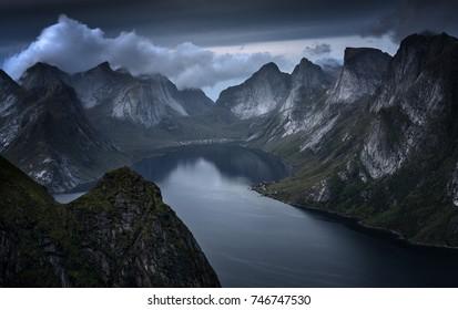 Dramatic mountains in Norway. Reinebringen Mountain in Lofoten