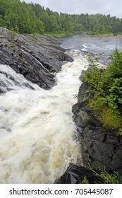 Dramatic Natural Chute in a Wild River in Chutes Provincial Park in Ontario, Canada