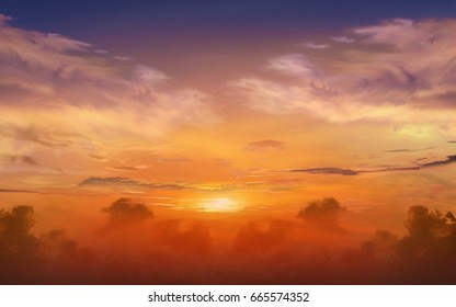 Dramatic nature background .  Sunset or sunrise with clouds, light rays and other atmospheric effect . Light from sky .