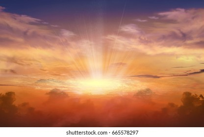 Dramatic nature background .  Sunset or sunrise with clouds, light rays and other atmospheric effect . Light from sky . Religion background  . Light in dark sky . beautiful cloud .